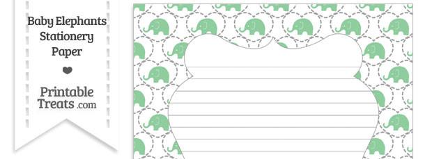 Green Baby Elephants Stationery Paper