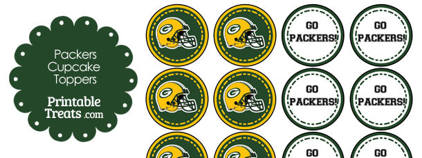 graphic about Green Bay Packers Printable Logo identified as Environmentally friendly Bay Packers Cupcake Toppers Printable