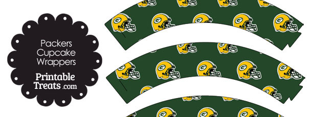 Green Bay Packers Football Helmet Cupcake Wrappers