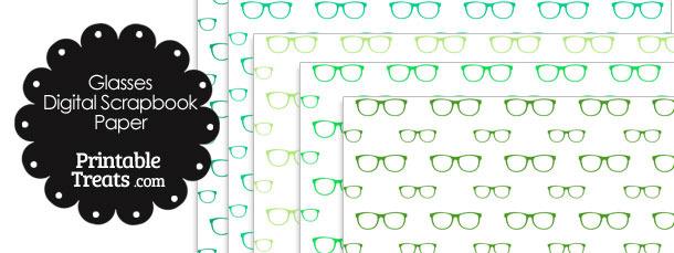 Green Glasses Digital Scrapbook Paper
