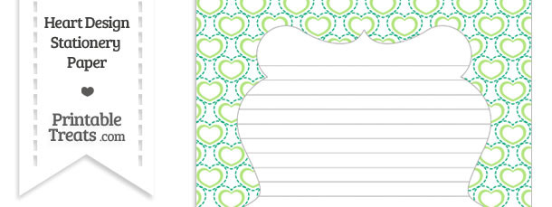 Green Heart Design Stationery Paper