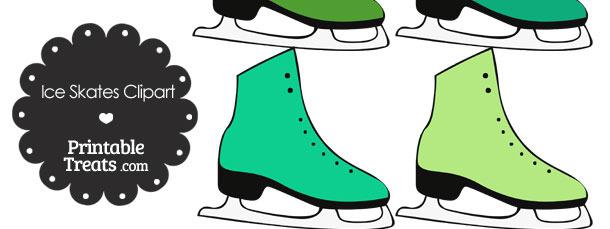 Green Ice Skates Clipart