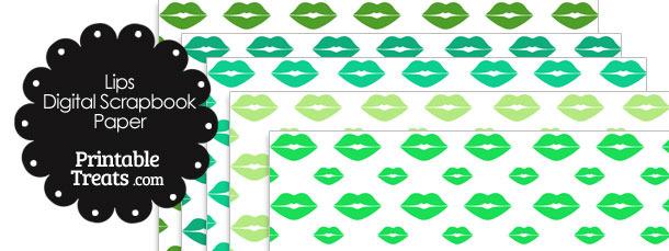 Green Lips Digital Scrapbook Paper