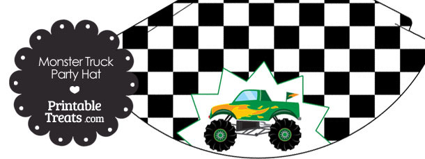 Green Monster Truck Party Hat