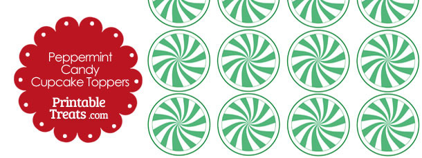 Green Peppermint Candy Cupcake Toppers