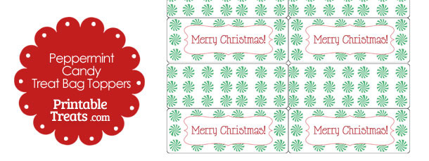 photo relating to Christmas Bag Toppers Free Printable identify Eco-friendly Peppermint Sweet Take care of Bag Toppers Printable