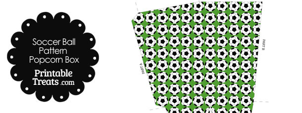 Green Soccer Ball Pattern Popcorn Box