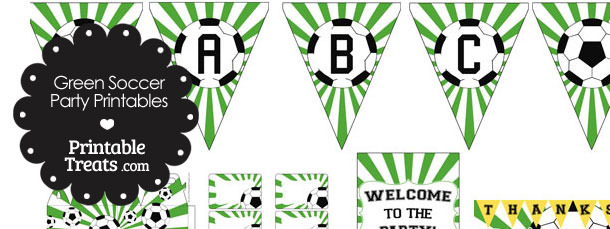 Green Sunburst Soccer Printable Party Set