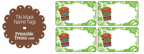 free-green-tiki-mask-name-tag-printable