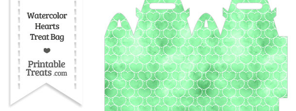 Green Watercolor Hearts Treat Bag