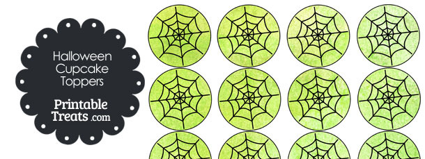 Green Watercolor Spider Web Cupcake Toppers