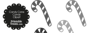 Grey and White Candy Cane Clipart