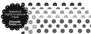 Grey Basketball Digital Scrapbook Paper