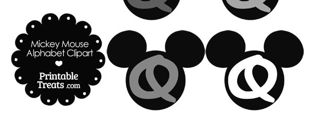 Grey Mickey Mouse Head Letter Q Clipart