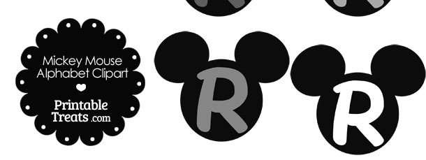 Grey Mickey Mouse Head Letter R Clipart
