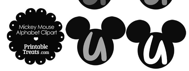 Grey Mickey Mouse Head Letter U Clipart