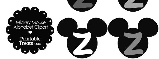 Grey Mickey Mouse Head Letter Z Clipart