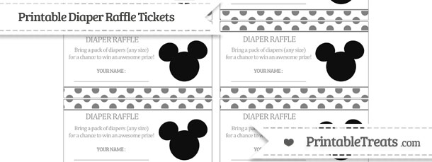 Free Grey Polka Dot Mickey Mouse Diaper Raffle Tickets