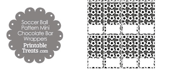 Grey Soccer Ball Pattern Mini Chocolate Bar Wrappers