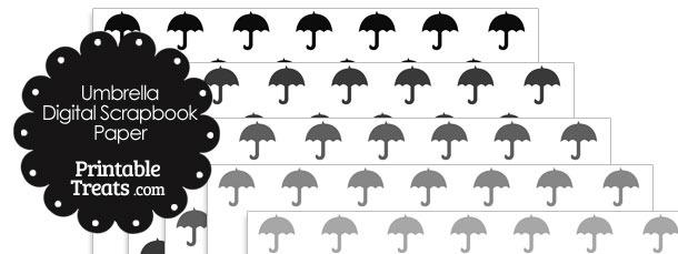 Grey Umbrella Digital Scrapbook Paper