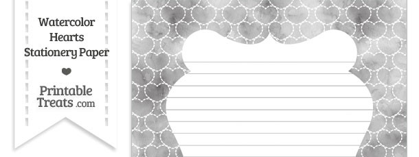 Grey Watercolor Hearts Stationery Paper