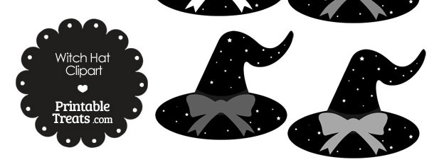 Grey Witch Hat Clipart with Large Bow