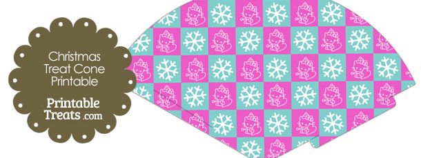 Hello Kitty Christmas Checkered Printable Treat Cone