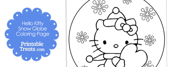 free hello kitty snow globe winter coloring page
