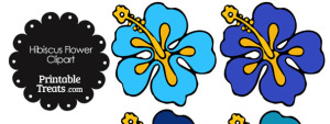 Hibiscus Flower Clipart in Shades of Blue