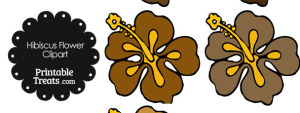 Hibiscus Flower Clipart in Shades of Brown