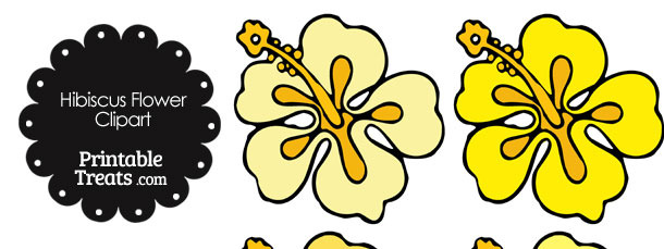 Hibiscus Flower Clipart in Shades of Yellow