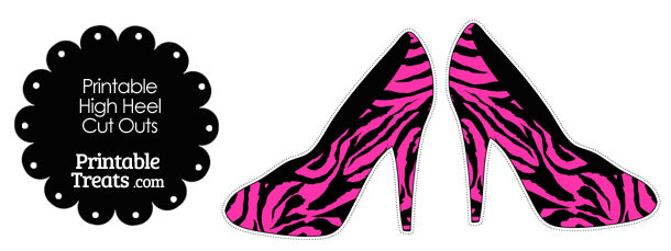 Hot Pink and Black Zebra Print High Heel Cut Outs — Printable