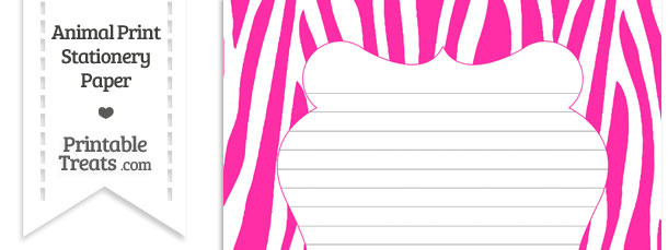 Hot Pink and White Zebra Print Stationery Paper