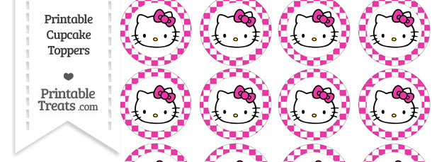 Free hot pink checker pattern hello kitty cupcake toppers free hot pink checker pattern hello kitty cupcake toppers maxwellsz