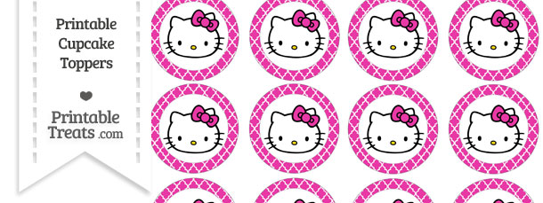 Free Hot Pink Moroccan Tile Hello Kitty Cupcake Toppers Printable