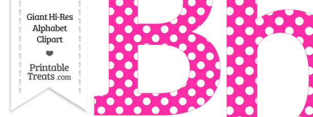 Hot Pink Polka Dot Letter B Clipart