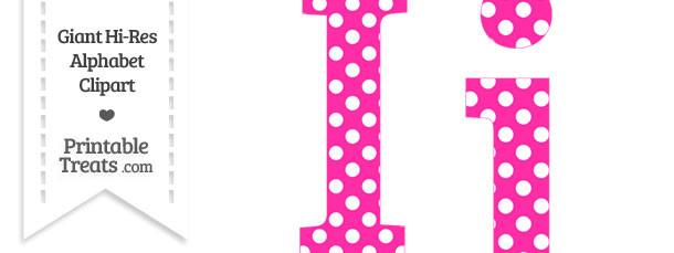 Hot Pink Polka Dot Letter I Clipart
