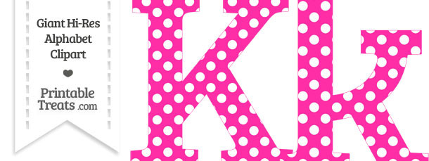 Hot Pink Polka Dot Letter K Clipart on Reading And Writing Numbers