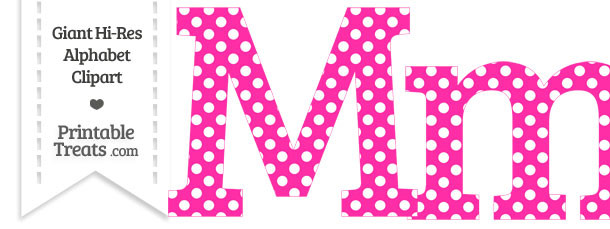 Hot Pink Polka Dot Letter M Clipart