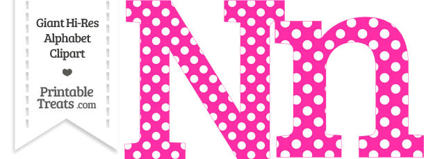 Hot Pink Polka Dot Letter N Clipart
