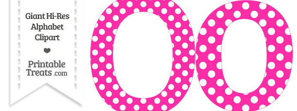 Hot Pink Polka Dot Letter O Clipart