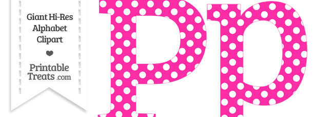 Hot Pink Polka Dot Letter P Clipart