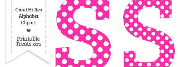 Hot Pink Polka Dot Letter S Clipart