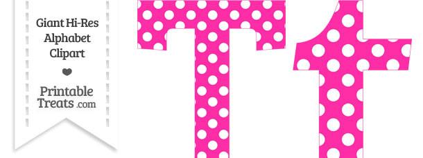 Hot Pink Polka Dot Letter T Clipart