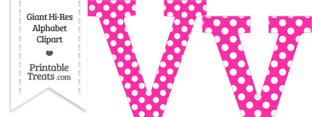 Hot Pink Polka Dot Letter V Clipart