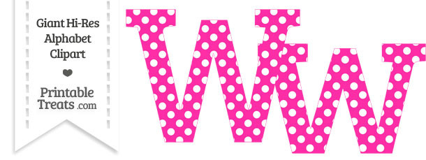 Hot Pink Polka Dot Letter W Clipart