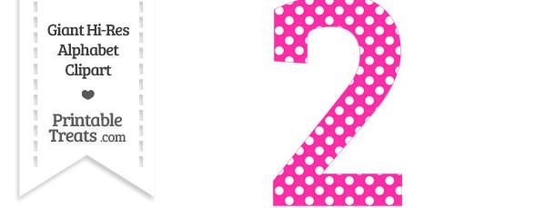Hot Pink Polka Dot Number 2 Clipart — Printable Treats.com
