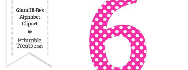Hot Pink Polka Dot Number 6 Clipart — Printable Treats.com