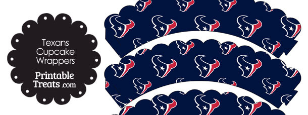 Houston Texans Logo Scalloped Cupcake Wrappers