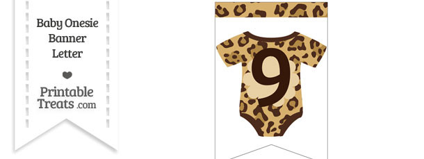 Jaguar Print Baby Onesie Bunting Banner Number 9